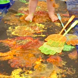 Fireworks messy play in Newcastle.